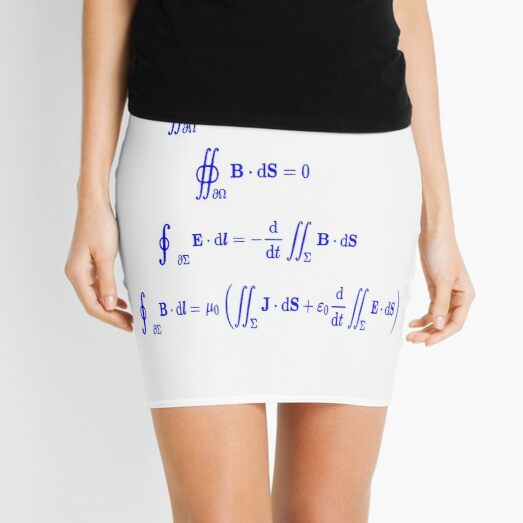 Maxwell's equations, #Maxwells, #equations, #MaxwellsEquations, Maxwell, equation, MaxwellEquations, #Physics, Electricity, Electrodynamics, Electromagnetism Mini Skirt