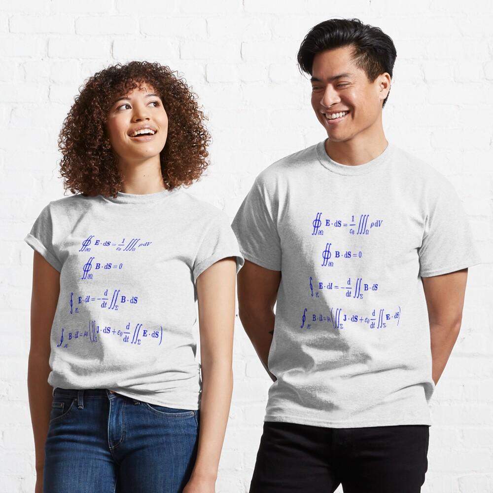 Maxwell's equations, #Maxwells, #equations, #MaxwellsEquations, Maxwell, equation, MaxwellEquations, #Physics, Electricity, Electrodynamics, Electromagnetism Classic T-Shirt