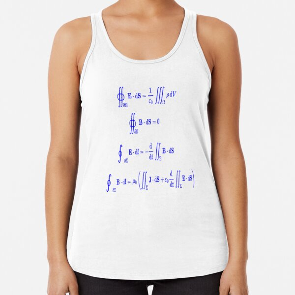 Maxwell's equations, #Maxwells, #equations, #MaxwellsEquations, Maxwell, equation, MaxwellEquations, #Physics, Electricity, Electrodynamics, Electromagnetism Racerback Tank Top