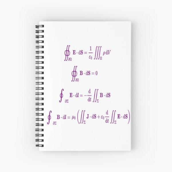Maxwell's equations, #Maxwells, #equations, #MaxwellsEquations, Maxwell, equation, MaxwellEquations, #Physics, Electricity, Electrodynamics, Electromagnetism Spiral Notebook