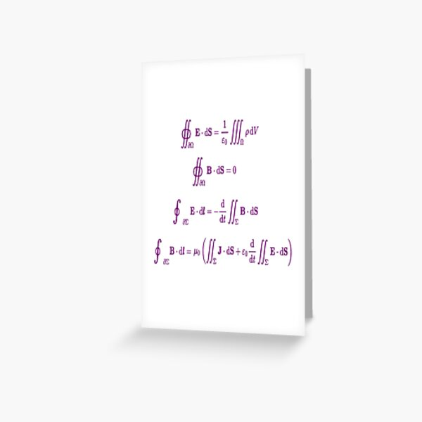 Mathematics, Maxwell's equations, #Maxwells, #equations, #MaxwellsEquations, Maxwell, equation, MaxwellEquations, #Physics, Electricity, Electrodynamics, Electromagnetism Greeting Card