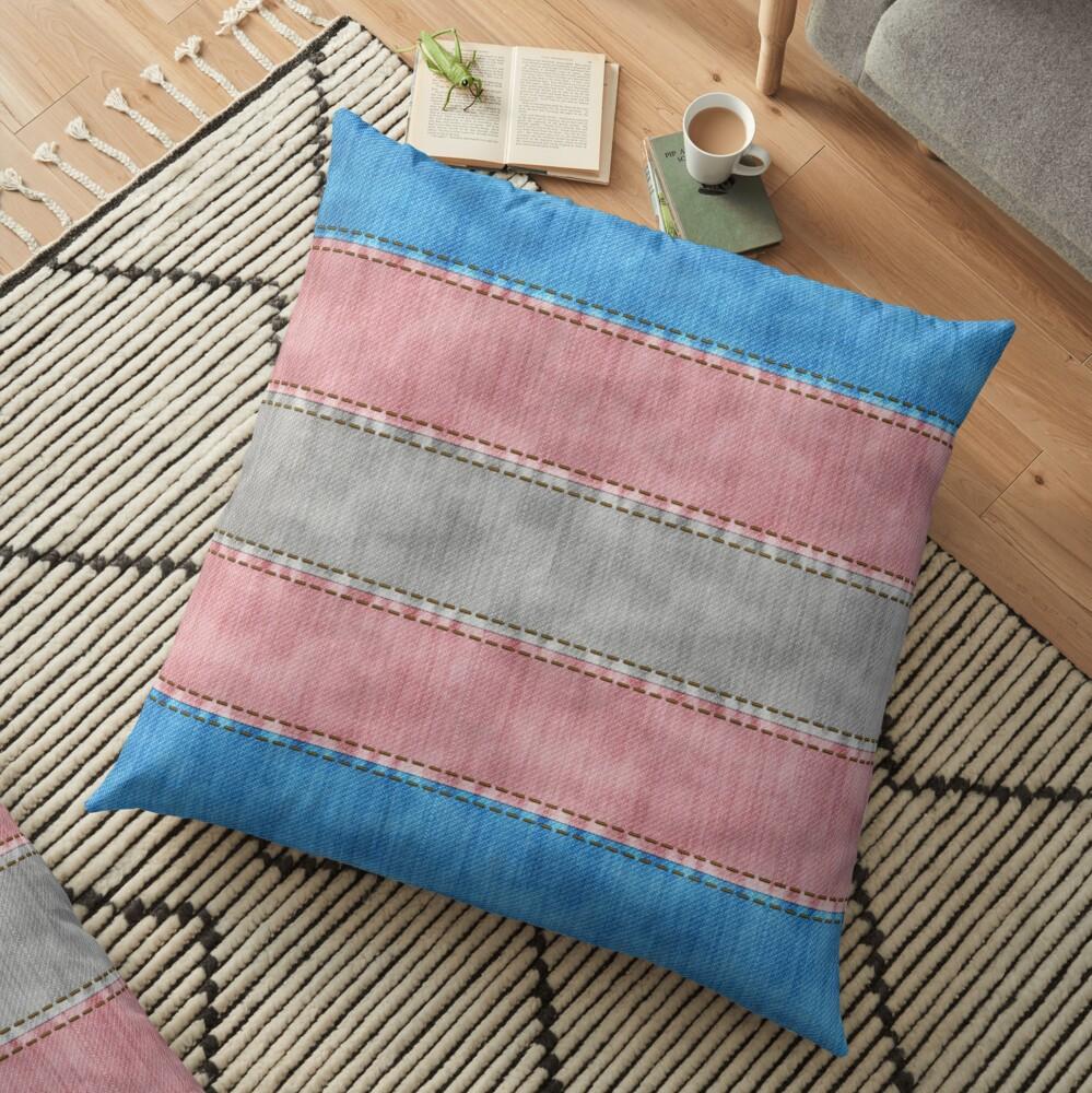 Transgender Denim Flag Floor Pillow