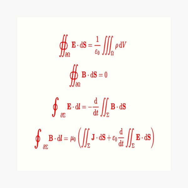 Mathematics, Maxwell's equations, #Maxwells, #equations, #MaxwellsEquations, Maxwell, equation, MaxwellEquations, #Physics, Electricity, Electrodynamics, Electromagnetism Art Print