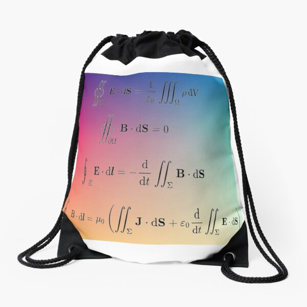 Maxwell's equations, #Maxwells, #equations, #MaxwellsEquations, Maxwell, equation, MaxwellEquations, #Physics, Electricity, Electrodynamics, Electromagnetism Drawstring Bag