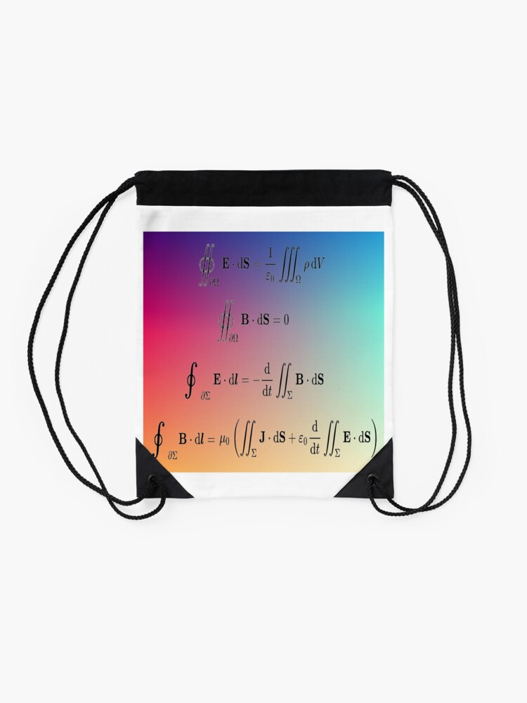 Alternate view of Maxwell's equations, #Maxwells, #equations, #MaxwellsEquations, Maxwell, equation, MaxwellEquations, #Physics, Electricity, Electrodynamics, Electromagnetism Drawstring Bag