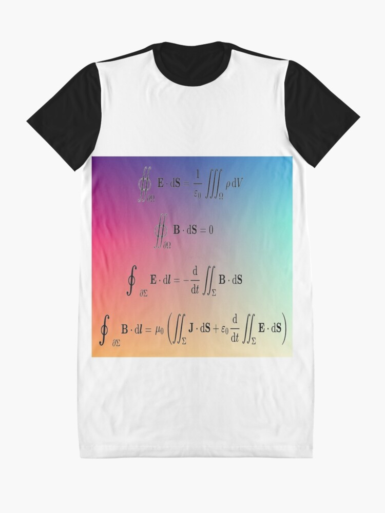 Alternate view of Maxwell's equations, #Maxwells, #equations, #MaxwellsEquations, Maxwell, equation, MaxwellEquations, #Physics, Electricity, Electrodynamics, Electromagnetism Graphic T-Shirt Dress