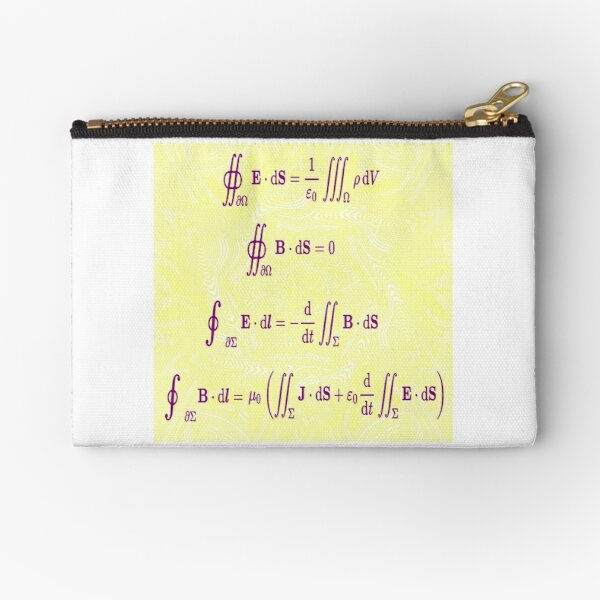 Math, Maxwell's equations, #Maxwells, #equations, #MaxwellsEquations, Maxwell, equation, MaxwellEquations, #Physics, Electricity, Electrodynamics, Electromagnetism Zipper Pouch