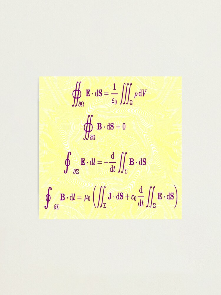 Alternate view of Maxwell's equations, #Maxwells, #equations, #MaxwellsEquations, Maxwell, equation, MaxwellEquations, #Physics, Electricity, Electrodynamics, Electromagnetism Photographic Print