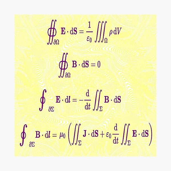 Maxwell's equations, #Maxwells, #equations, #MaxwellsEquations, Maxwell, equation, MaxwellEquations, #Physics, Electricity, Electrodynamics, Electromagnetism Photographic Print