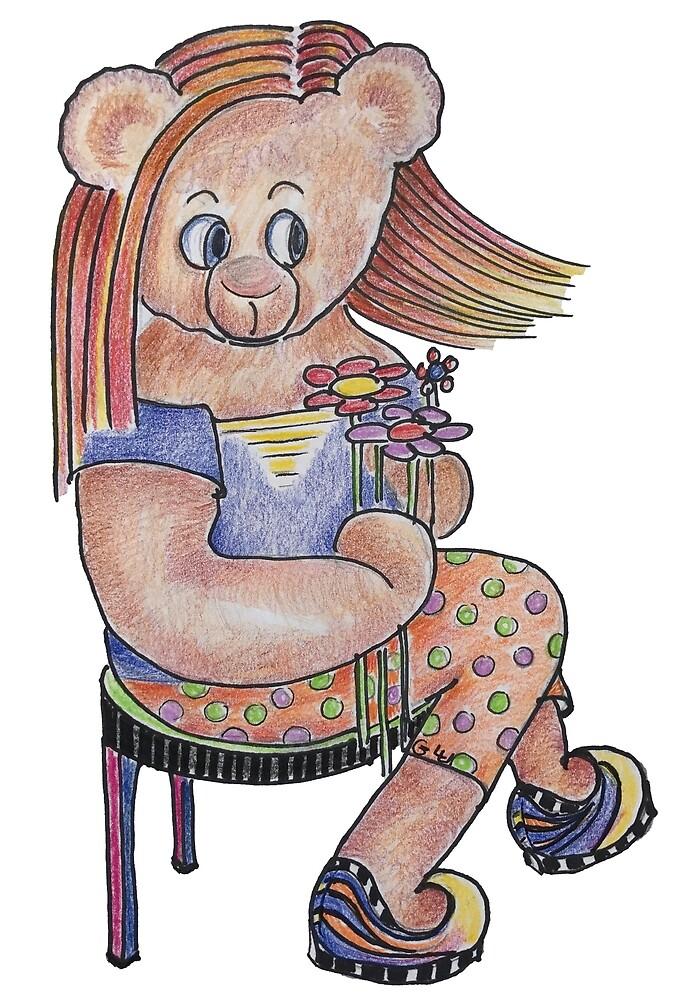 Daisy Flower Power Bear Doll by Giselle Luske