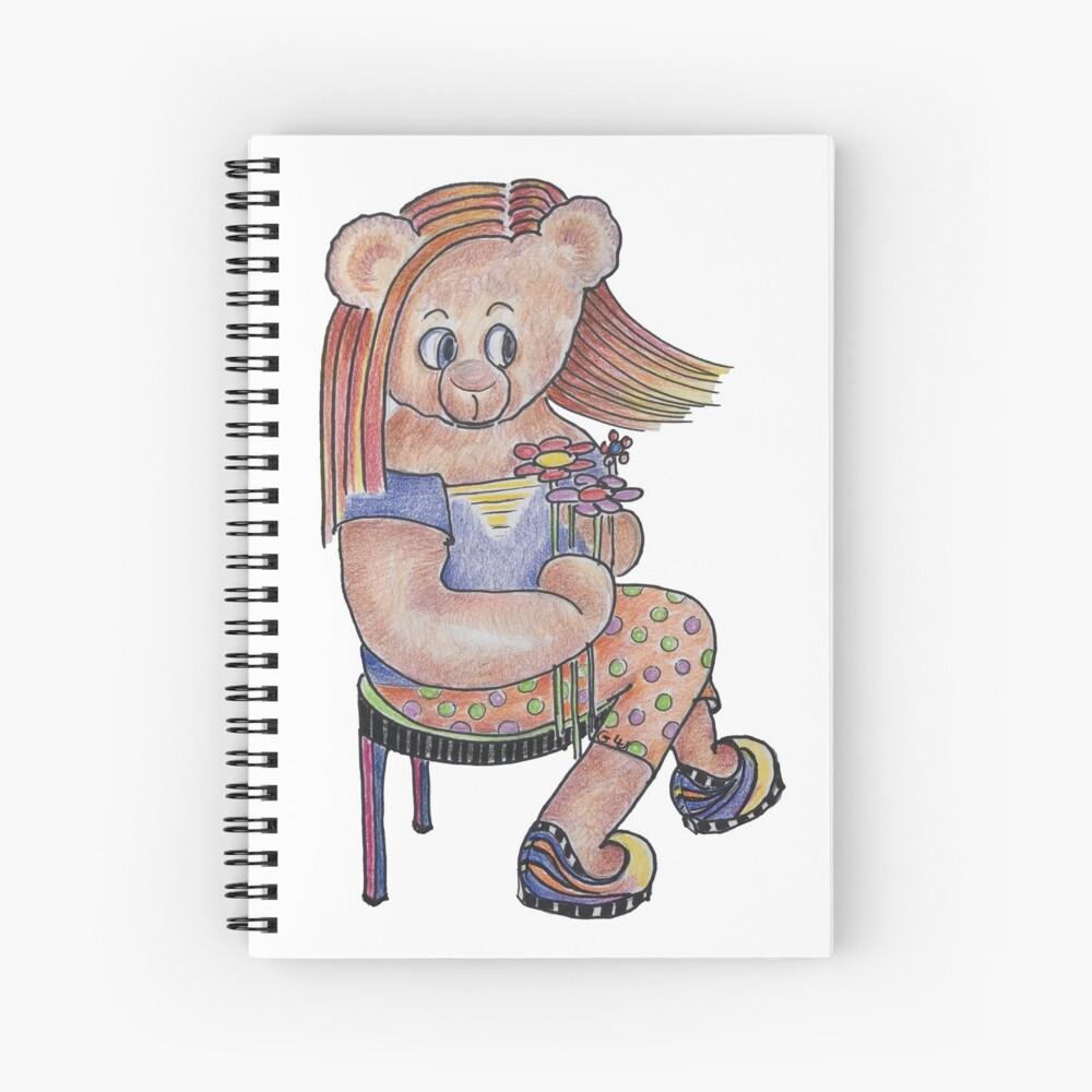Daisy Flower Power Bear Doll Spiral Notebook