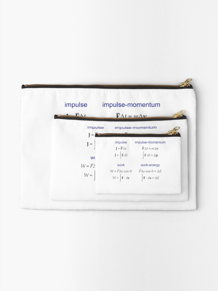 Alternate view of #Physics, #Mechanics, #Impulse, #Momentum, Work, Energy, Force, Time, Velocity, Cosine, Delta, Integral, Difference Zipper Pouch