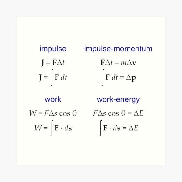 #Physics, #Mechanics, #Impulse, #Momentum, Work, Energy, Force, Time, Velocity, Cosine, Delta, Integral, Difference Art Print
