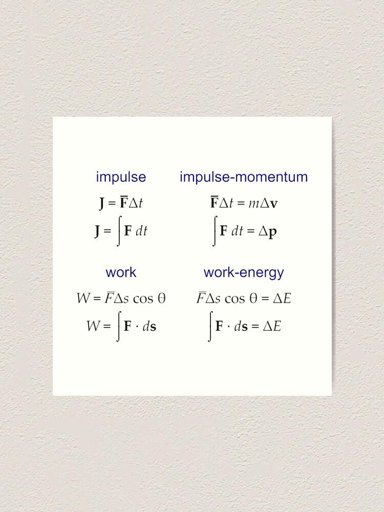 Alternate view of #Physics, #Mechanics, #Impulse, #Momentum, Work, Energy, Force, Time, Velocity, Cosine, Delta, Integral, Difference Art Print