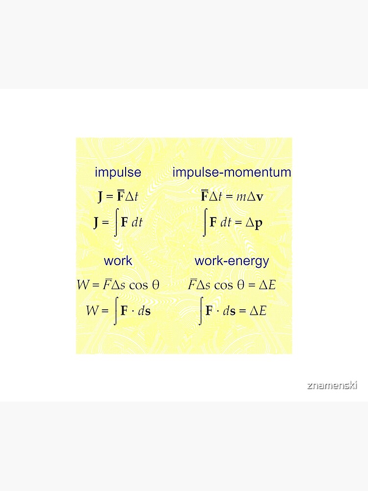 #Physics, #Mechanics, #Impulse, #Momentum, Work, Energy, Force, Time, Velocity, Cosine, Delta, Integral, Difference by znamenski