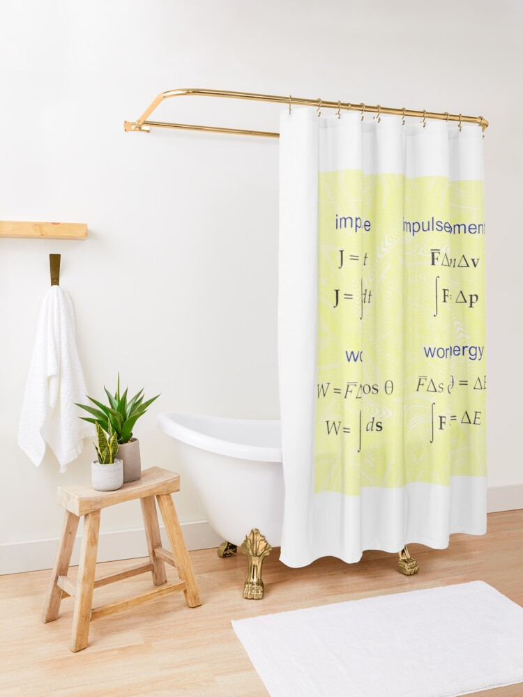 Alternate view of #Physics, #Mechanics, #Impulse, #Momentum, Work, Energy, Force, Time, Velocity, Cosine, Delta, Integral, Difference Shower Curtain