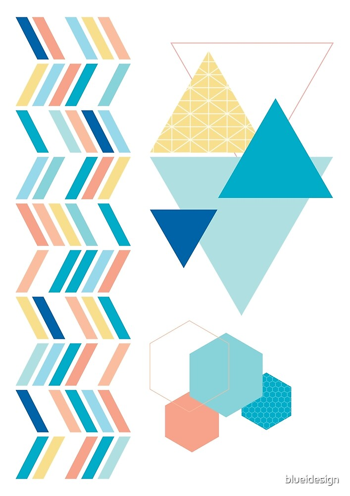 Geometric Shapes Blue Green Orange Yellow Abstract by blueidesign