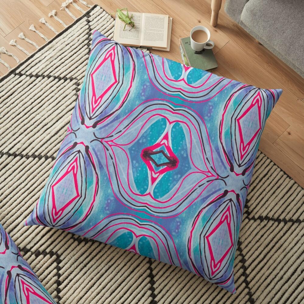"Fluid painting ""neutralize your brain"" kaleidoscope Floor Pillow"