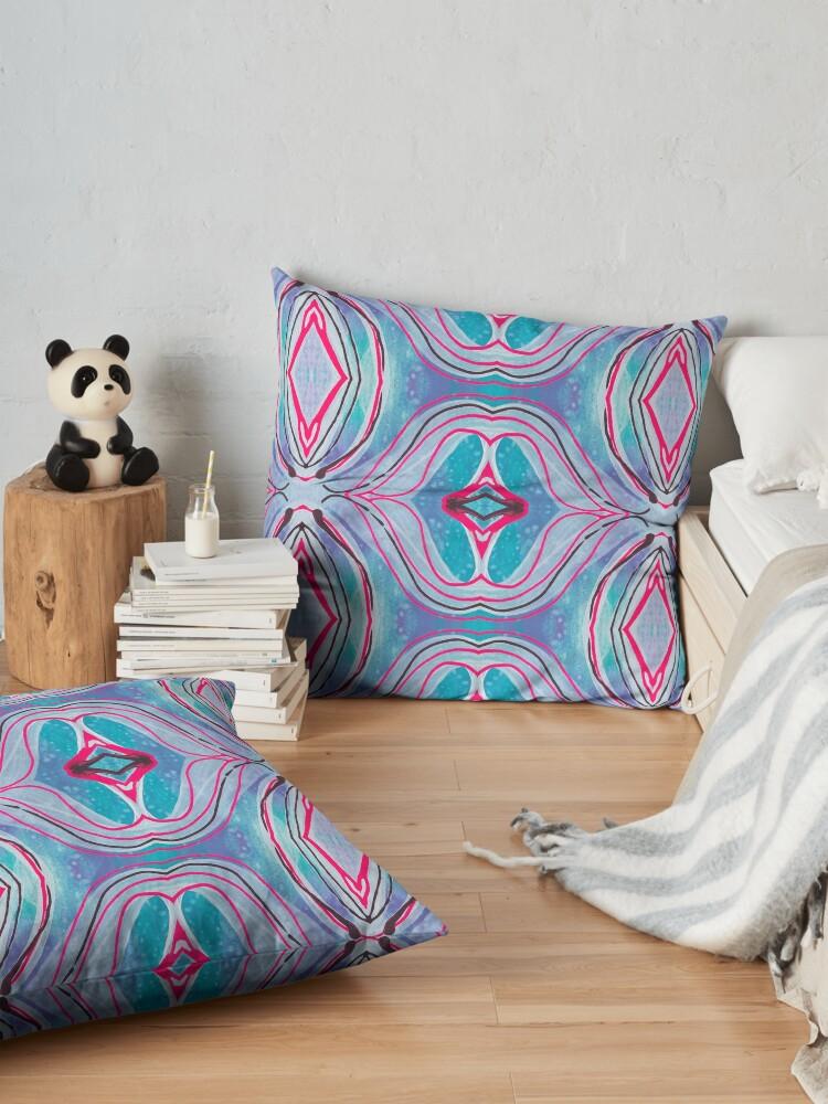 "Alternate view of Fluid painting ""neutralize your brain"" kaleidoscope Floor Pillow"