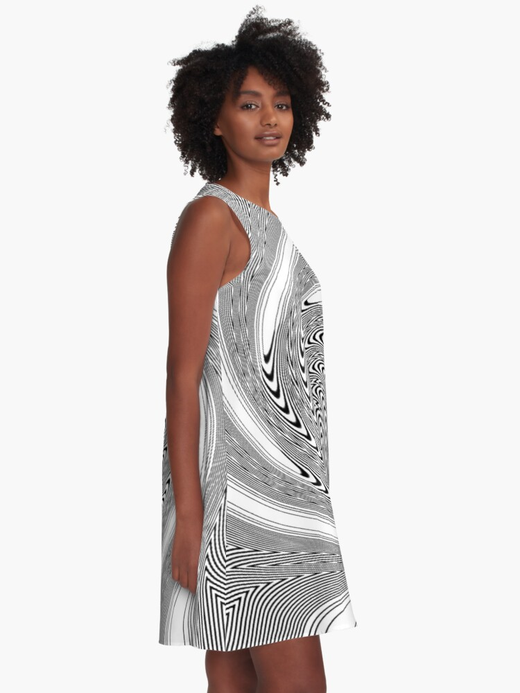 Alternate view of #Psychedelic #Hypnotic #Pattern, Visual #Illusion, Optical Art  A-Line Dress