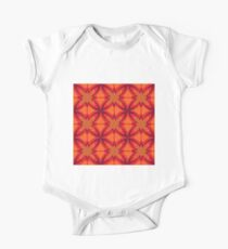 Abstract Orange Butterfly Flowers One Piece - Short Sleeve