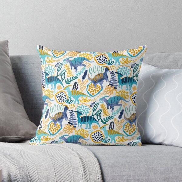 Gouache Parasaurolophuses  Throw Pillow