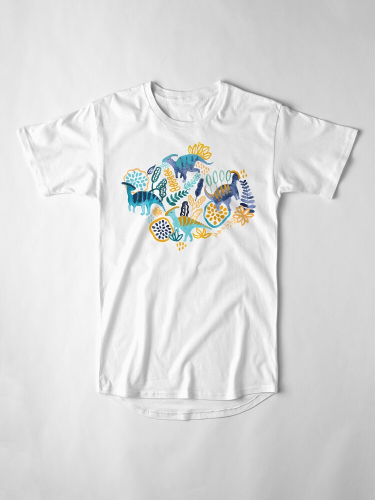 Alternate view of Gouache Parasaurolophuses  Long T-Shirt