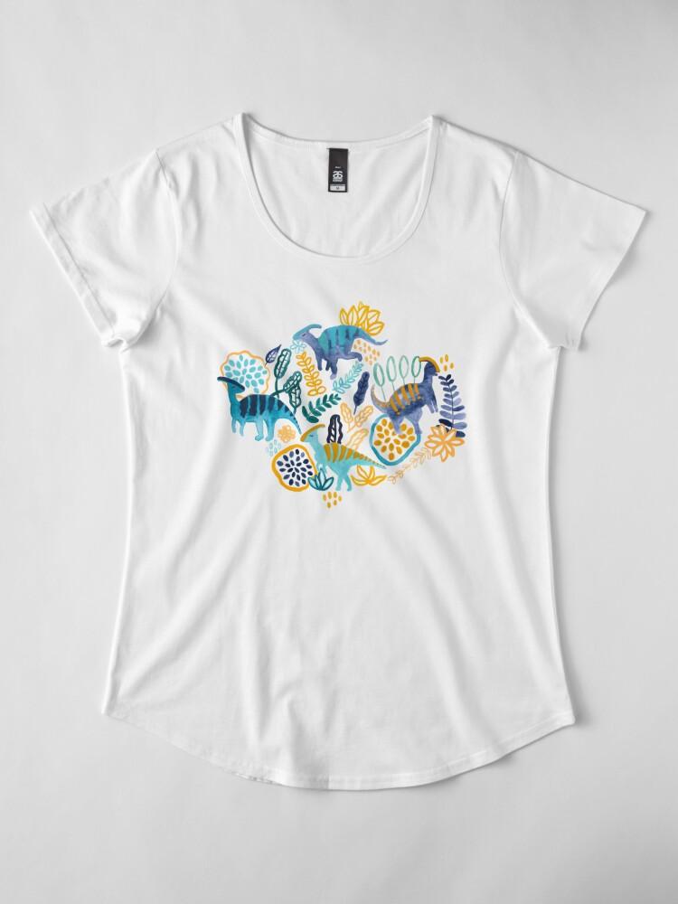 Alternate view of Gouache Parasaurolophuses  Premium Scoop T-Shirt