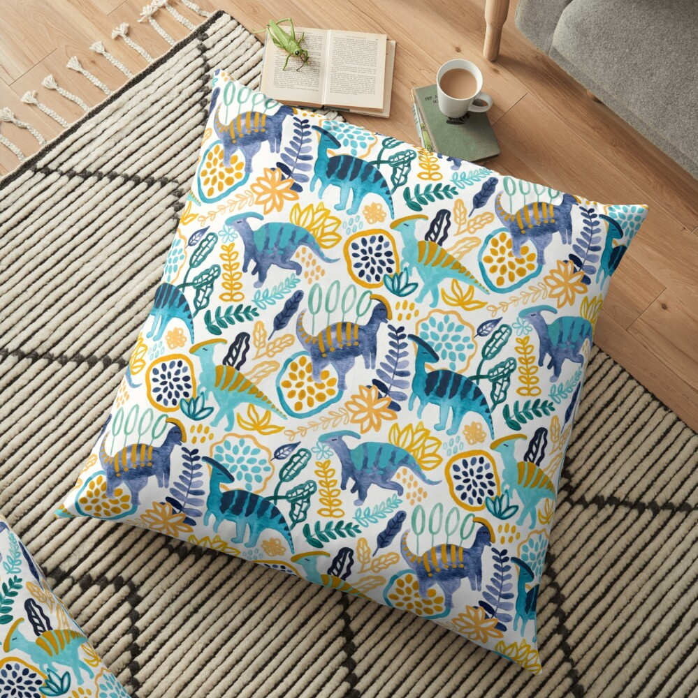 Gouache Parasaurolophuses  Floor Pillow