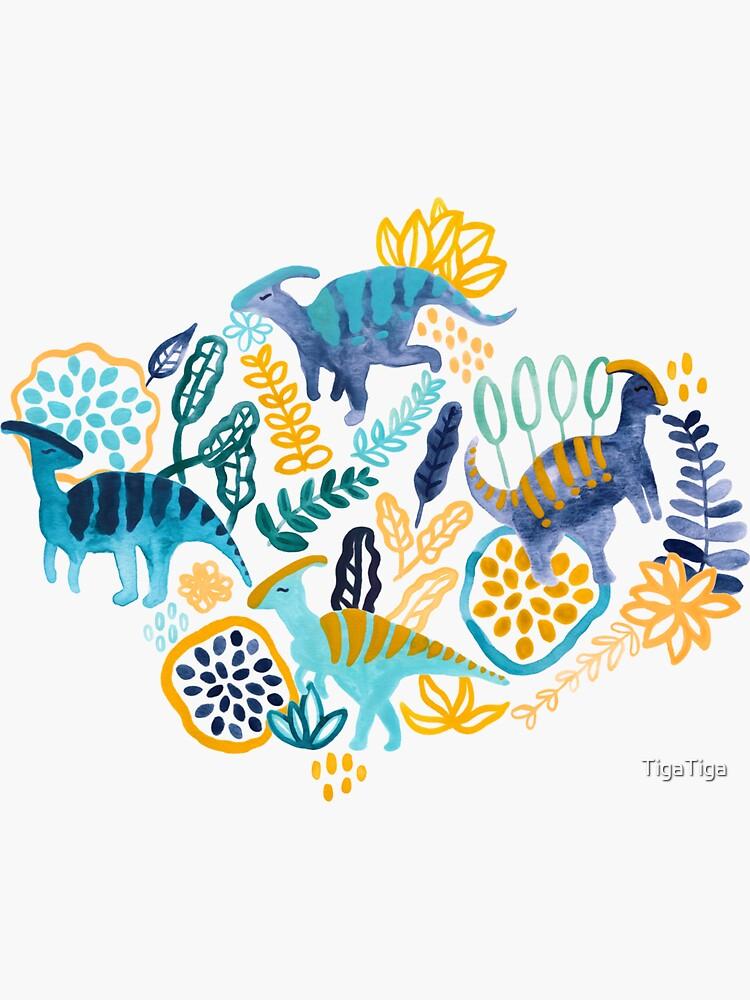 Gouache Parasaurolophuses  by TigaTiga