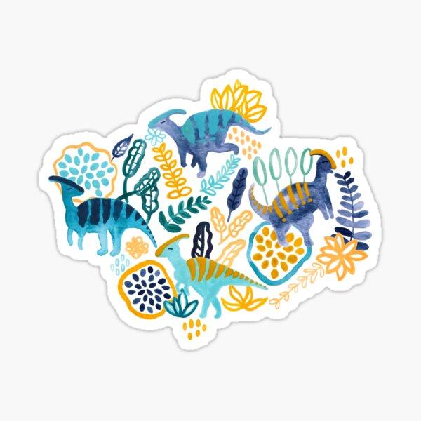 Gouache Parasaurolophuses  Sticker