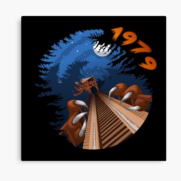 NIGHT RIDES ONLY Beast Wooden Roller Coaster at Kings Island Theme Park Canvas Print