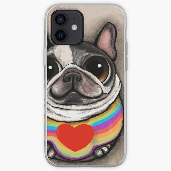 French Bulldog black and awhite and peace t-shirt iPhone Soft Case