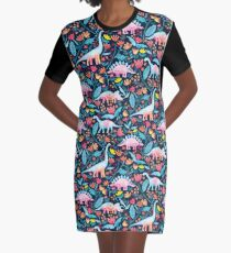 Dinosaur Delight Graphic T-Shirt Dress