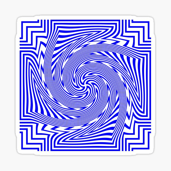 #Psychedelic #Hypnotic #Pattern, Visual #Illusion, Optical Art  Sticker