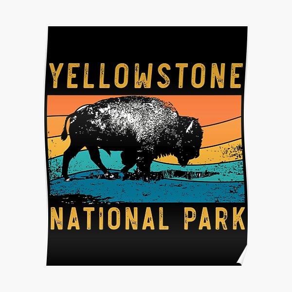 Vintage Yellowstone National Park Gifts Usa Bison Buffalo Poster