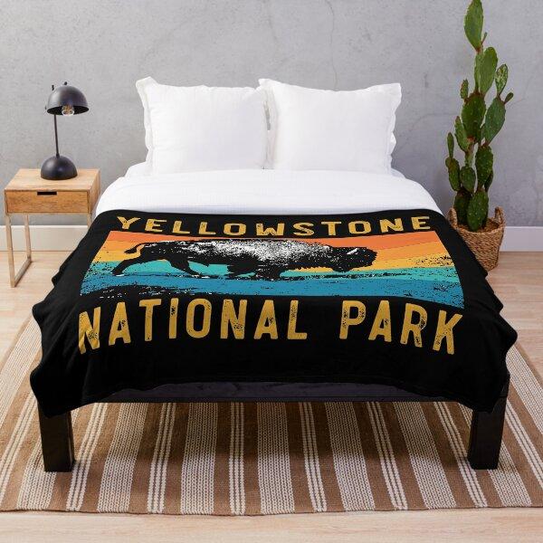 Vintage Yellowstone National Park Gifts Usa Bison Buffalo Throw Blanket