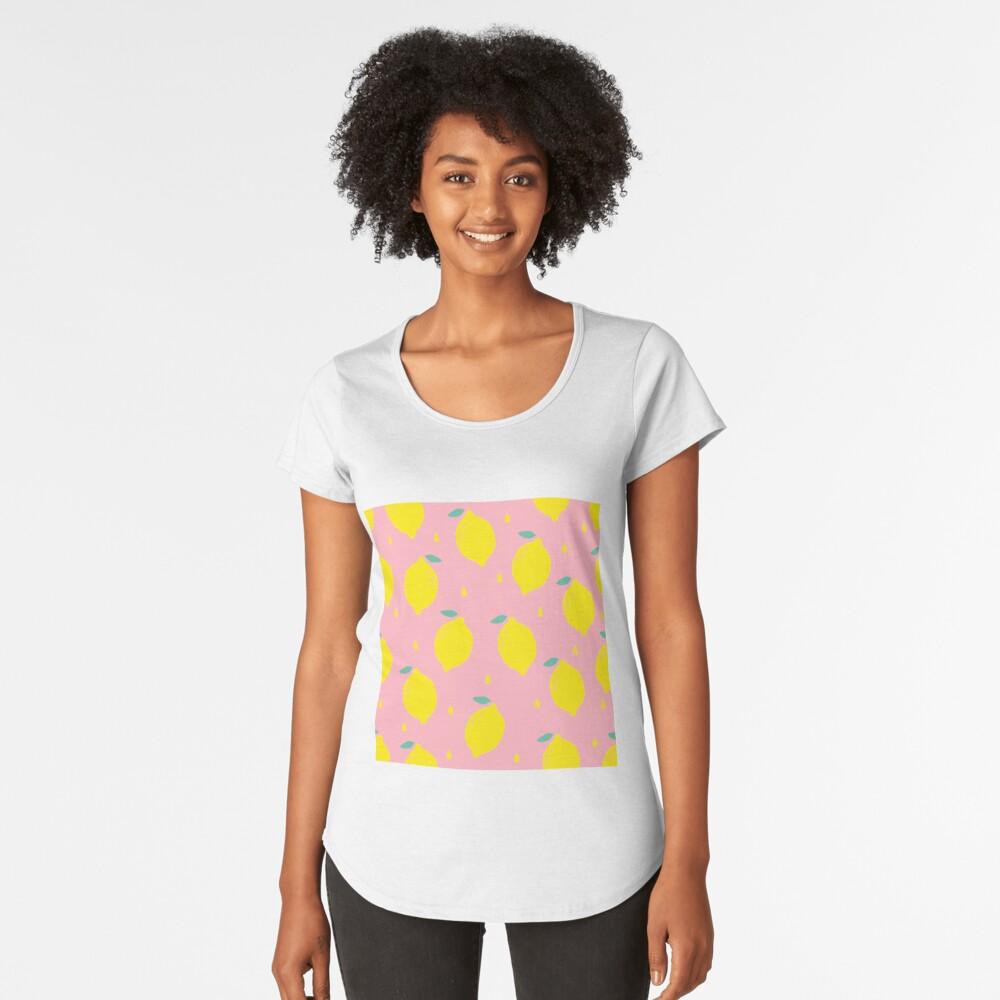 Sweet Lemon Pattern Premium Scoop T-Shirt