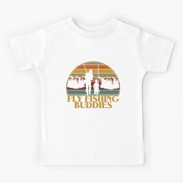 Retro Father & Son Fly Fishing Buddies For Life | Trout Fly Fisher and Angler Kids T-Shirt