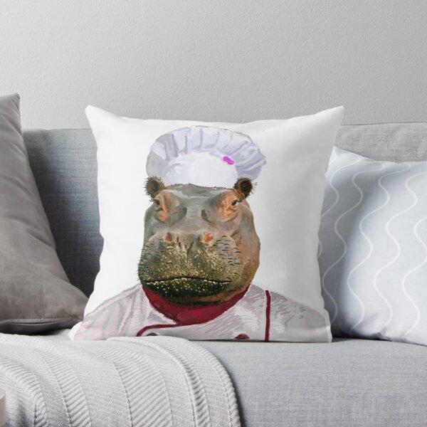 Madame Hippo the Chef Throw Pillow