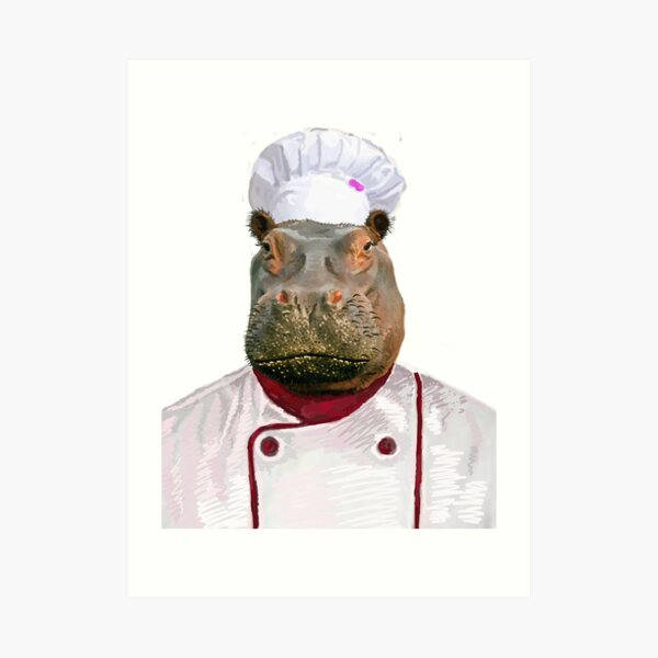 Madame Hippo the Chef Art Print