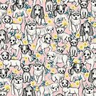 Dogs and Daisies on Pink by micklyn