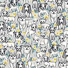 Dogs and Daisies on Grey by micklyn