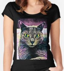 CAT ART Tailliertes Rundhals-Shirt