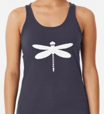 Dragonfly (white on blue) Racerback Tank Top