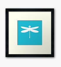 Dragonfly (white on blue) Framed Print