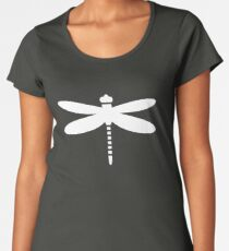 Dragonfly (white on blue) Premium Scoop T-Shirt