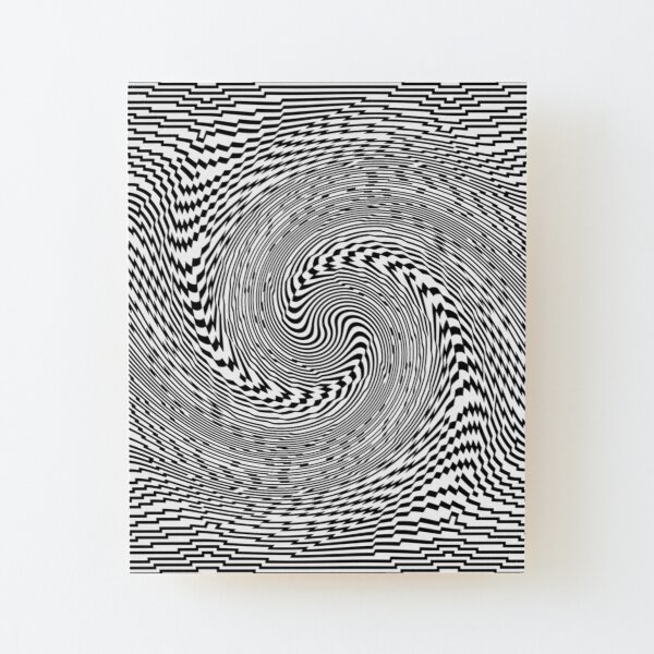 #Psychedelic #Hypnotic #Pattern, Visual #Illusion, Optical Art  Wood Mounted Print