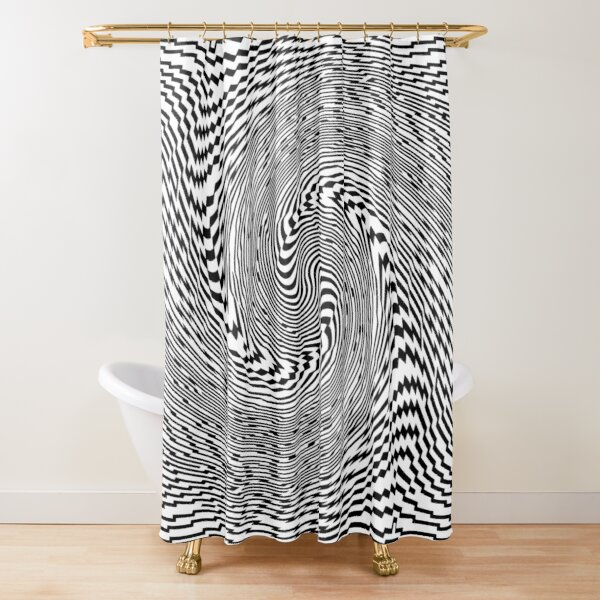 #Psychedelic #Hypnotic #Pattern, Visual #Illusion, Optical Art  Shower Curtain
