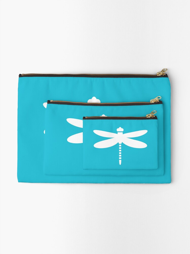 Alternate view of Dragonfly (white on blue) Zipper Pouch